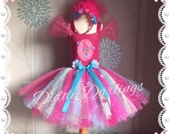Sparkly Princess Poppy Costume. Trolls Tutu Dress.Inspired Handmade Dress.All Sizes Fully Customised Any Characters Or Colours.