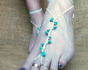 Barefoot sandal, crochet foot jewellery, beach wedding, holiday bare foot sandal, turquoise stones, cotton thread, ready to ship from UK