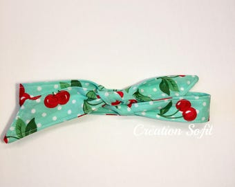 Cherries headband, green hanband, child, baby, made in Quebec, Creation Sofil, summer, dress, dot handband, bloomers, hair, accessories, red