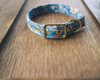 Blue Summer + Brass Dog Collar - Made in Melbourne