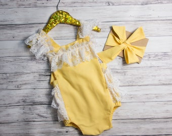 Yellow Lace Romper- Baby Girl Romper, vintage style lace romper, tea party Ruffle Romper, girlie lace romper, yellow lace outfit