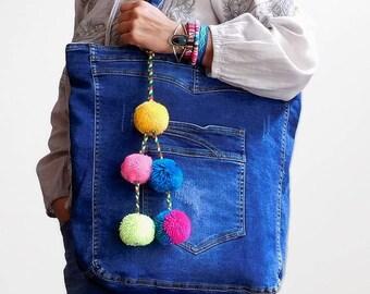 denim tote bag fabric tote handbag blue jeans bag everyday bag