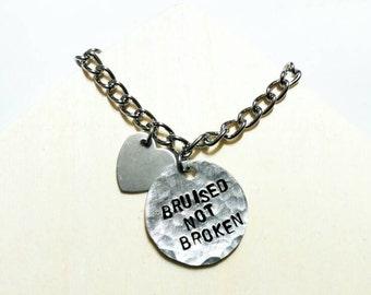 Inspirational bracelet - motivation bracelet - quote bracelet - Charm bracelet - bruised not broken - inspiration jewelry - gift for her