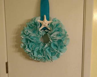 Spring wreath, summer wreath, summer wreath, nautical wreath, beach wreath, teal wreath, indoor wreath, seashell wreath