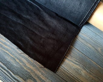 Softened black linen fabric by the meter, natural linen black color fabric, black washed stonewashed linen fabric by the yard 7oz 200GSM