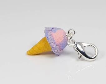 Cotton Candy Ice Cream Cone Charm