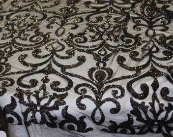 Fashion Eternity Damask Sequins Lace Fabric - Black color - sold By The Yard