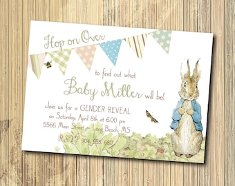 Peter Rabbit Gender Reveal Invitation, Easter Gender Reveal/DIGITAL FILE/printable/wording can be added or changed