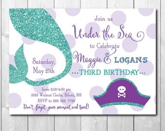 Mermaid Pirate Birthday Invitation printable/Digital File/under the sea, mermaid party, pool party, swim party/Wording can be changed