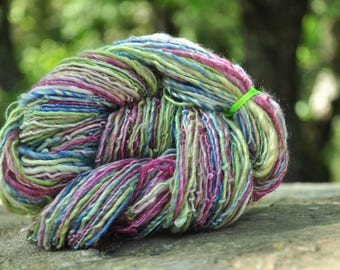"Skein of yarn spun hand to the spinning wheel ""Springtime"""