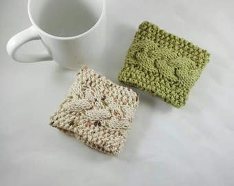 Mug Cozy Cable Knit • Coffee Cup • Coffee Cozy • Tea Cup Cozy • Holder • Sleeve! Set of 2! Sage Green & Natural Coconut Button! *R2S!*