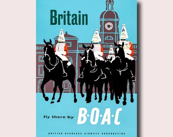 Britain Travel Print 1950s - Britain Poster Travel Decor Travel British Print Britain Poster Gift Hotel Deco   Smt