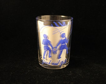 """Vintage Child's Juice Glass """"Jack and Jill"""" Tumbler Nursery Rhyme Great Gift!"""