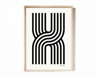 Letter X - modern typography alphabet print.