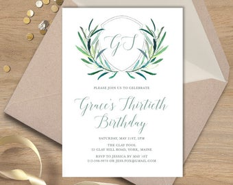 Greenery Birthday Invitation / Eucalyptus Crest / Initial Monogram Crest, Eucalyptus Leaves, Olive ▷ Printable File {or} Printed & Shipped