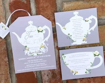 Additional insert Cards for Tea Party Invitations