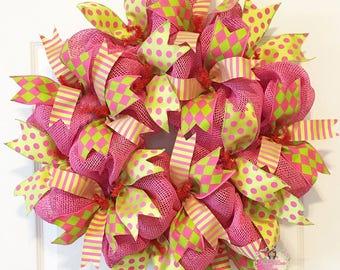 Deluxe Summer HARLEQUIN Pink Burlap Deco Mesh INDOOR Wreath EVERYDAY ~~Ready to Ship~~