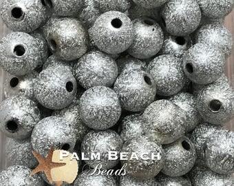 Twenty (20)pc Chunky 12mm Acrylic Stardust Beads SILVER