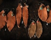 Handmade Leather Feather earrings with African Glass Bead