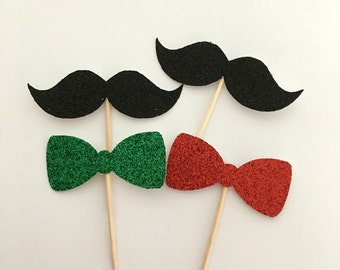 Mustache and bow tie cupcake toppers .. cupcake toppers .. red and green .. bow tie cupcake toppers