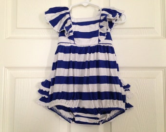 Blue Stripe Knit Ruffle Bubble Onesie PLAIN Baby Toddler Girls Outfit Party Birthday Baseball Summer