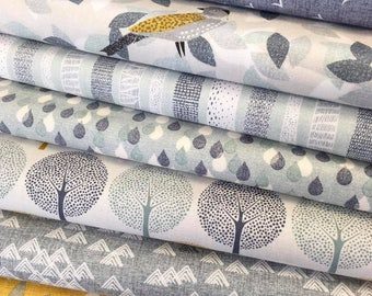 Yellow and Grey Fat Quarter Bundle - 100% Cotton, Patchwork and Quilting Fabric