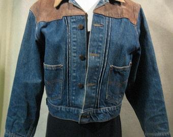SZ M Vintage Ralph Lauren Denim Jacket with Suede Shoulders, Ralph Lauren Polo Denim Jacket, Ralph Lauren Jean Jacket, Designer Denim Jacket
