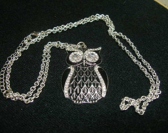 """34"""" Enamel and Rhinestone Owl Necklace(631)"""