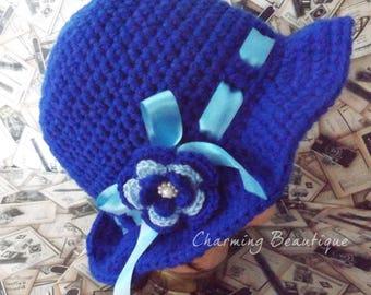 1920s Hat Cloche Hat Crochet Hat Retro Hat Elegant Hat Blue Hat Gift Women Hats For Women Flapper Hat Womens Hats Womens Crochet Hat