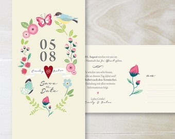 SAVE THE DATE card 01 · romantic postcard · floral graphics