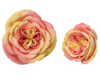 "Set of 2 Flowers 5"" & 2.5"" Apricot Nectar Rose Flowers Gumpaste"