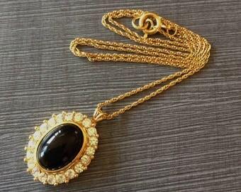 Vintage Trifari Black Cabochon and Crystal Pendant Necklace