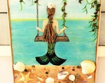 Mermaid Wall Decor - Original Beach Art - Mixed Media Painting - on Canvas - 16 X 20 inches-