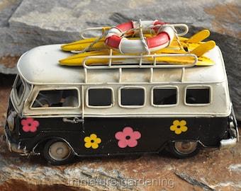 Flower Power Beach Bus for Miniature Garden, Fairy Garden