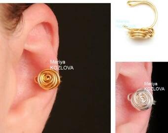 No Piercing Wire Rose Conch Ear Jacket/cartilage earcuff/piercing imitation/fake faux piercing falso/oreille manchette/ohrklemme ohr clip