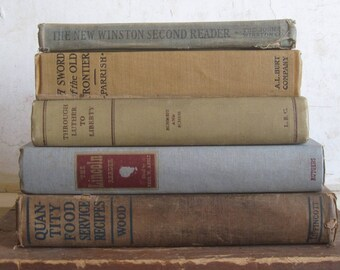 Shabby Vintage Books in Gray and Beige