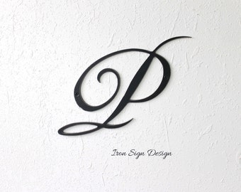 iron letter p monogram family initial sign family name sign logo sign cursive letter metal letter iron anniversary