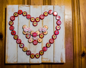 Pallet Wood & Bottle Cap Heart Sign