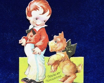 1910's Scottish Terrier Valentine Antique Card Scotty Dog