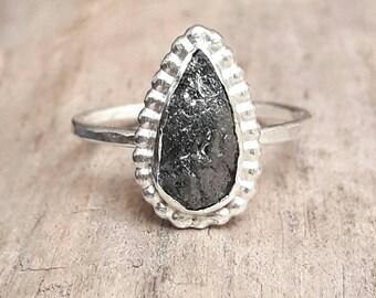 Pear Shaped Rough Black Diamond Engagement Ring - Raw Diamond Ring - Black Diamond Ring - Large Diamond Ring - Silver Engagement Ring