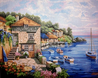 """Gobelin Tapestry Needlepoint Kit """"Landscape"""" hand embroidery printed canvas 513"""