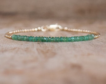 Emerald Bracelet, May Birthstone, Zambian Emerald Ombre Gemstone Bracelet, Emerald Jewellery,  Dainty Stacking Bracelet, Gold Bracelet