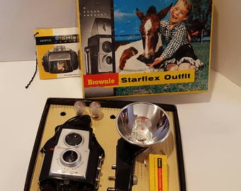 Kodak Brownie Starflex Camera outfit with flashbulbs and film in original box