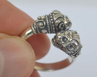 For Sale Lion Head Silver Ring Size Between Us 6 to 9 - Symbol of Strength-Ancient Greece
