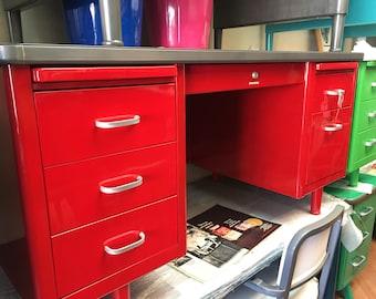 Steel Case Vintage Steel Desk Refurbished in Red- Double Pedestal