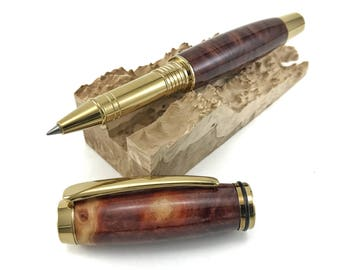 Rollerball Pen - Wooden Pen - Handcrafted with Ultra Rare Ewart's Mallee Burl and Gold Titanium Hardware - includes FREE gift box