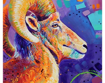 "Bighorn - Original colorful traditional acrylic painting on paper 8.5""x11"""