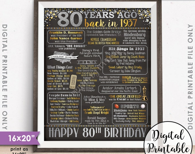 """80th Birthday Gift 1937 Sign, 80th B-day Poster Flashback 80 Years Ago Born in 1937, Chalkboard Style PRINTABLE 8x10/16x20"""" Instant Download"""
