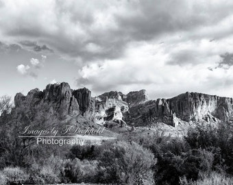 Superstition Mountains, Arizona, Black and White, Southwest, Fine Art Photography, Fine Art Print