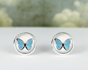 Blue Butterfly earrings · Blue Morpho butterfly studs · silver butterfly studs · gift for her · 12mm and 16mm earrings · silver stud earring